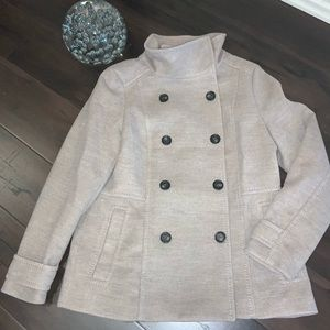 NWOT H&M Pea Coat Heathered Beige. Tab back sz 14